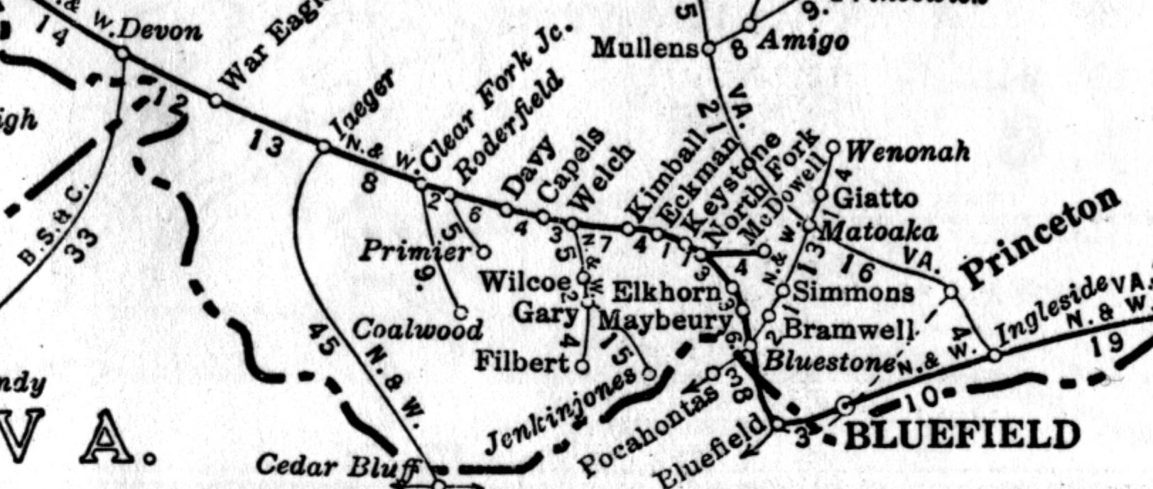 Coalwood West Virginia Map.Railroads